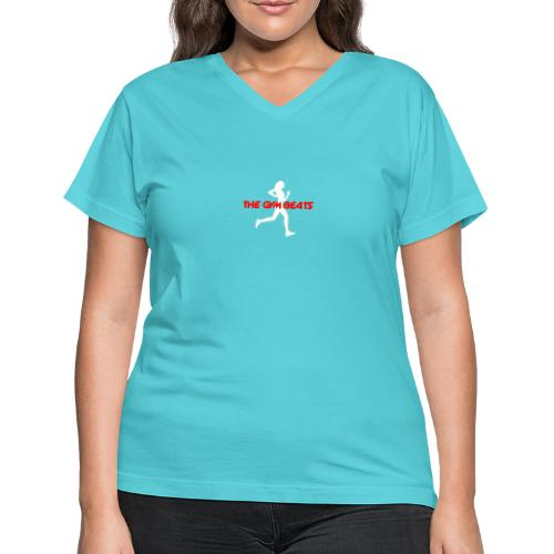 The GYM BEATS - Music for Sports - Women's V-Neck T-Shirt