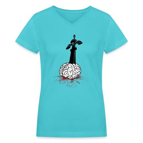 Sword in Brain - Women's V-Neck T-Shirt