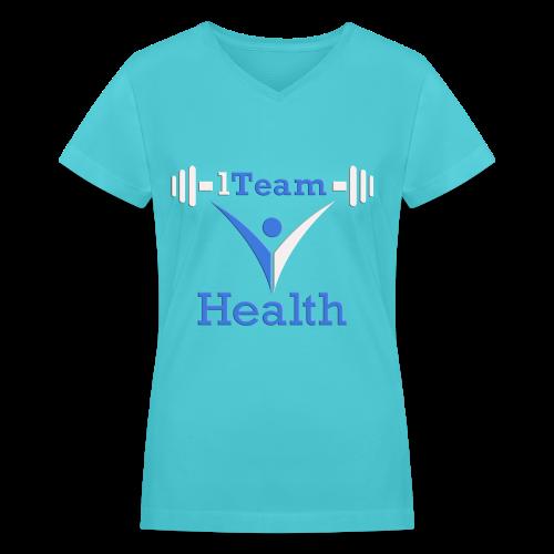 1TH - Blue and White - Women's V-Neck T-Shirt
