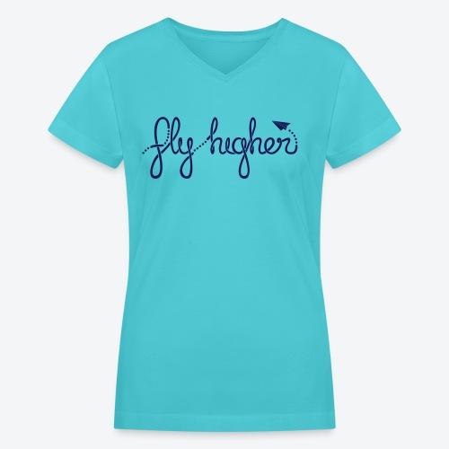 Fly Higher - Navy - Women's V-Neck T-Shirt