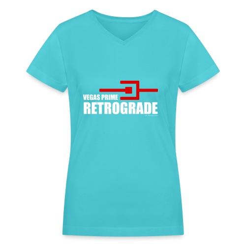 Vegas Prime Retrograde - Title and Hack Symbol - Women's V-Neck T-Shirt