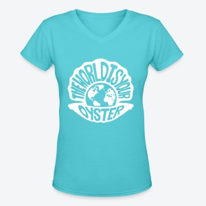 The World Is Your Oyster - Light - Women's V-Neck T-Shirt
