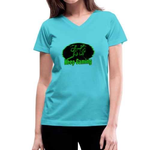 keep gaming 2 - Women's V-Neck T-Shirt
