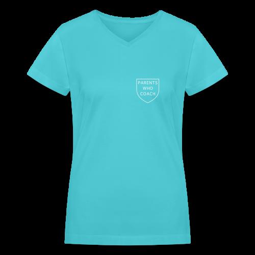 Parents Who Coach crest on chest - Women's V-Neck T-Shirt