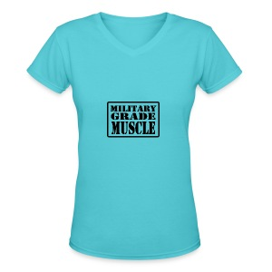 Military Grade Muscle Black - Women's V-Neck T-Shirt