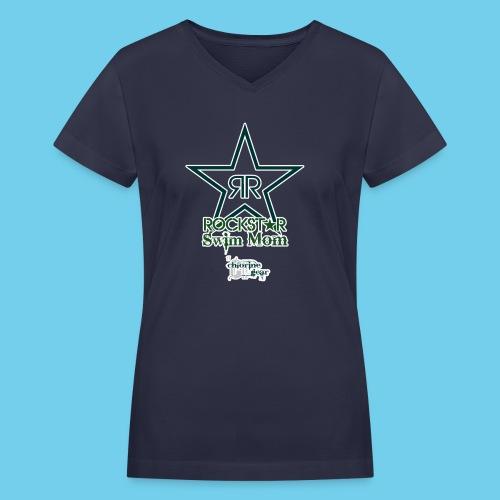 Rockstar Swim Mom - Women's V-Neck T-Shirt