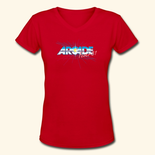 arcade fever 81 motiv2 - Women's V-Neck T-Shirt
