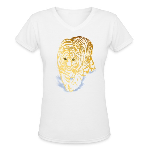 Golden Snow Tiger - Women's V-Neck T-Shirt