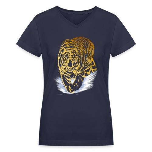 Golden Snow Tiger - Women's V-Neck T-Shirt