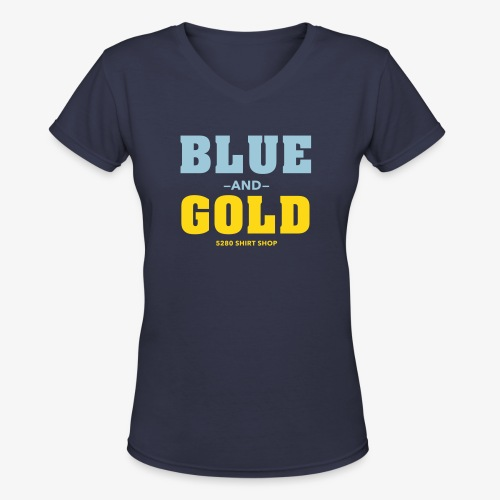 Blue And Gold - Women's V-Neck T-Shirt