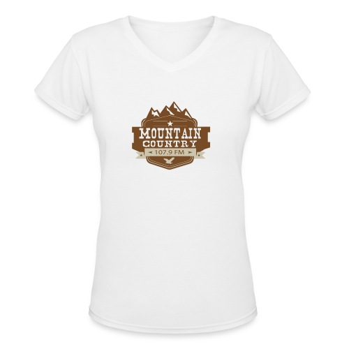 Mountain Country 107.9 - Women's V-Neck T-Shirt