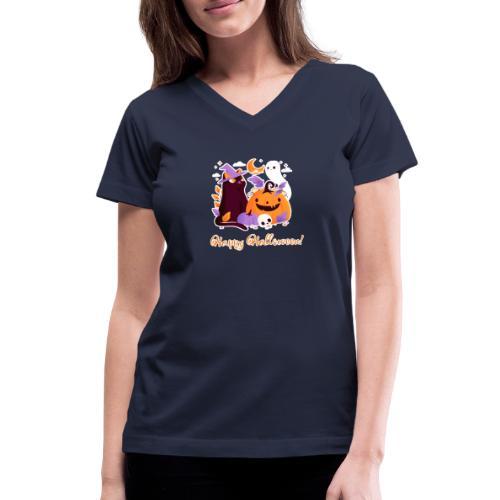 Halloween happy - Women's V-Neck T-Shirt