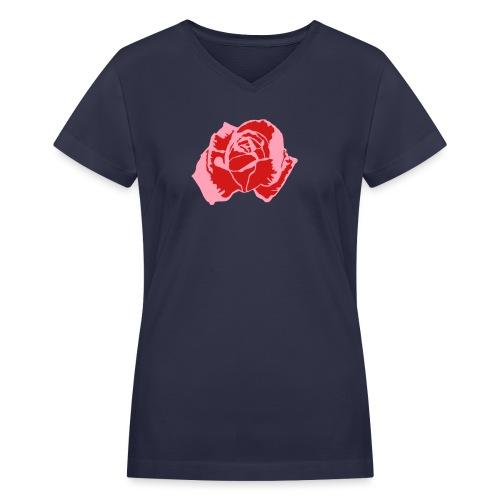 lil pink rose - Women's V-Neck T-Shirt