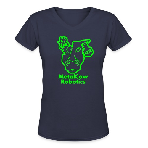 MetalCowLogo GreenOutline - Women's V-Neck T-Shirt