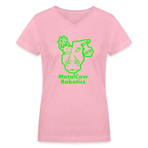 MetalCowLogo GreenOutline - Women's V-Neck T-Shirt