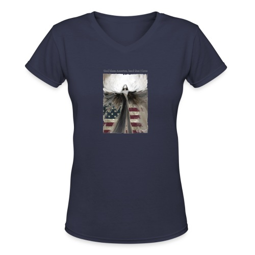 God bless America_design5 - Women's V-Neck T-Shirt