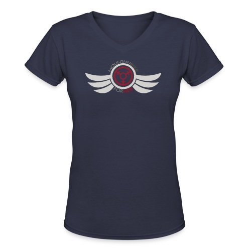 Wings Logo Words png - Women's V-Neck T-Shirt