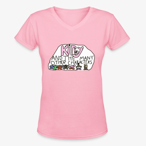 Kirby and the many other characters - Women's V-Neck T-Shirt