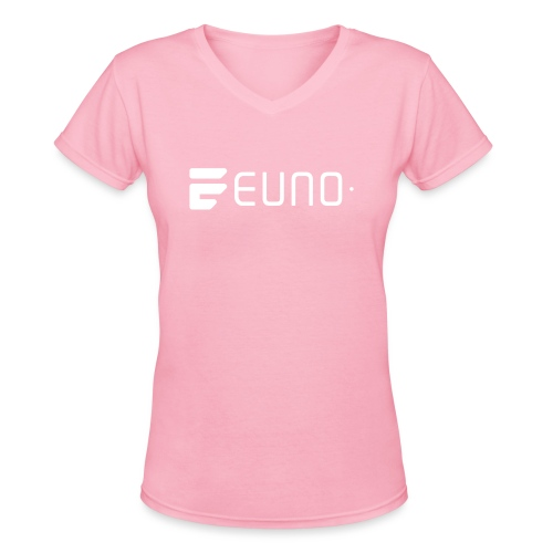 EUNO LOGO LANDSCAPE WHITE - Women's V-Neck T-Shirt