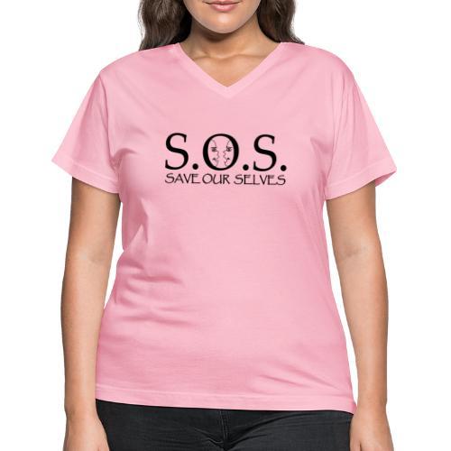 SOS Black on Black - Women's V-Neck T-Shirt