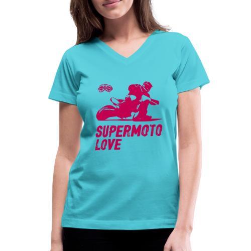 Supermoto Love - Women's V-Neck T-Shirt