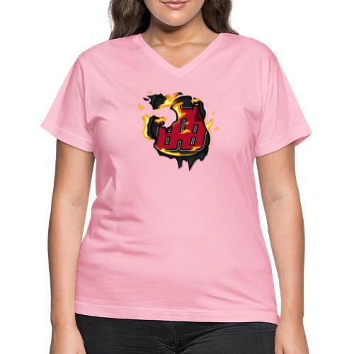 BAB Logo on FIRE! - Women's V-Neck T-Shirt
