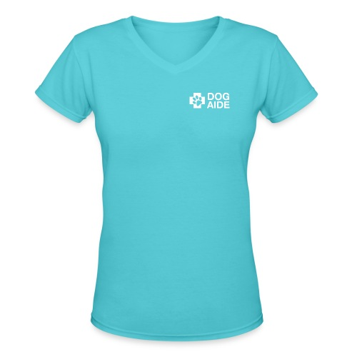 DA Logo White - Women's V-Neck T-Shirt