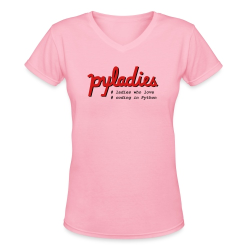 PyLadies Ladies who love coding in Python - Women's V-Neck T-Shirt