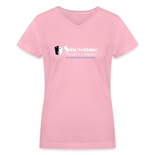 showitme logo blue white large png - Women's V-Neck T-Shirt