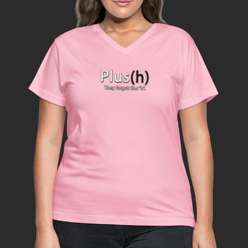 Plus(h) New logo WHT with - Women's V-Neck T-Shirt