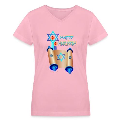 Happy Hanukkah and Torah - Women's V-Neck T-Shirt