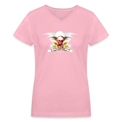 Planet Beer Skull & Keg Gothic 2 Tone - Women's V-Neck T-Shirt