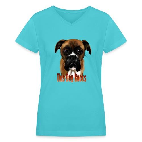 This Dog Rocks - Women's V-Neck T-Shirt
