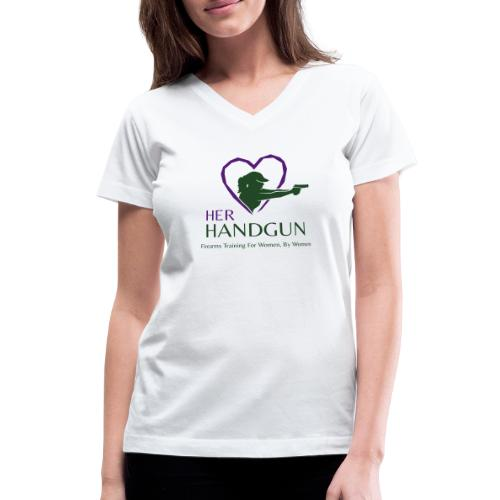 Official HerHandgun Logo with Slogan - Women's V-Neck T-Shirt