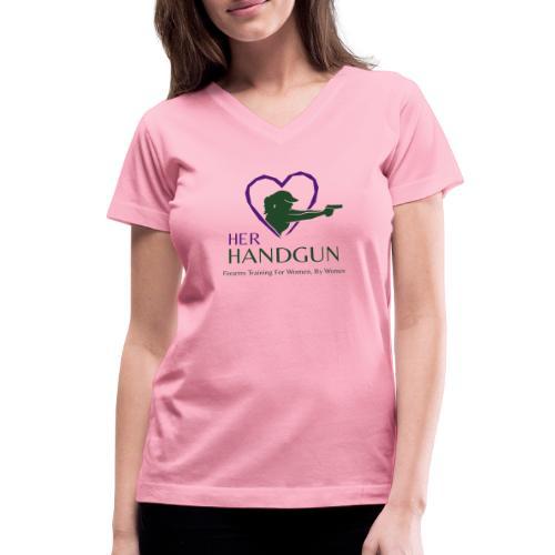 Official HerHandgun Logo with Slogan - Women's V-Neck T-Shirt