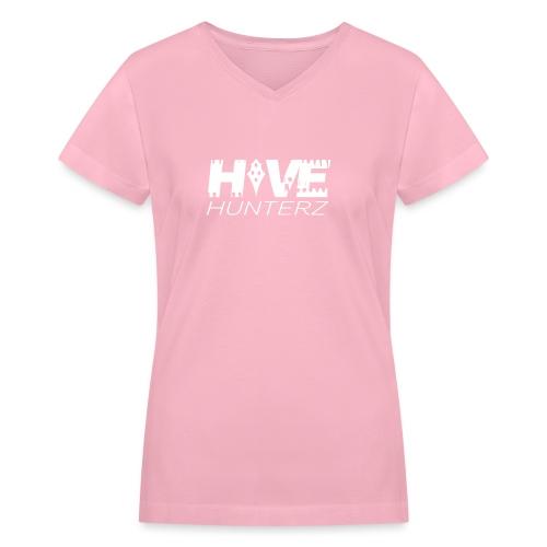 White Hive Hunterz Logo - Women's V-Neck T-Shirt