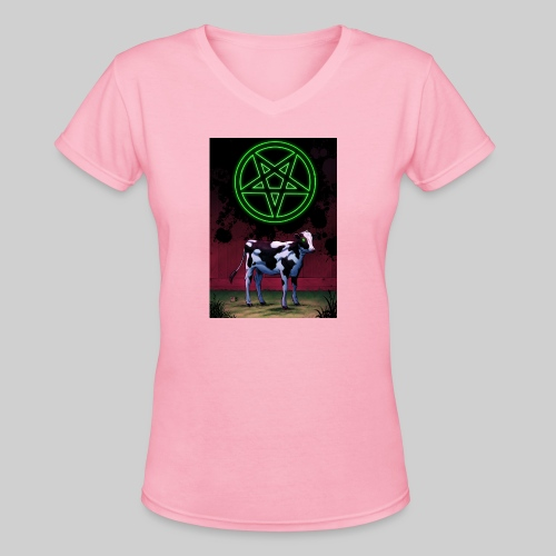 Satanic Cow - Women's V-Neck T-Shirt