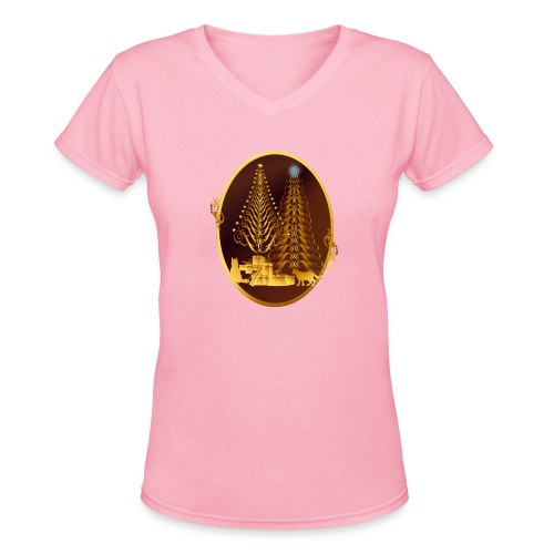Golden Presents-Gold Kitties - Women's V-Neck T-Shirt