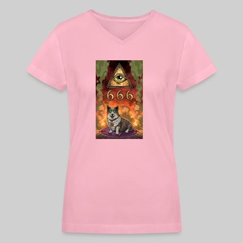 Satanic Corgi - Women's V-Neck T-Shirt