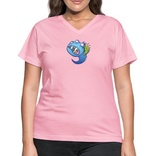 Winged little blue monster - Women's V-Neck T-Shirt