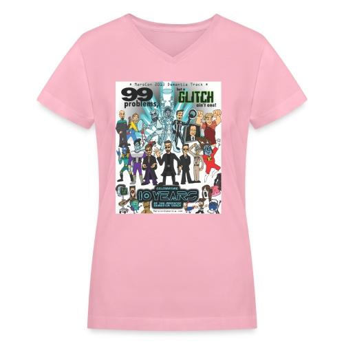 marscon2013tshirtl - Women's V-Neck T-Shirt