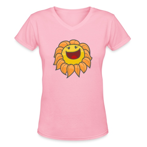 Happy sunflower - Women's V-Neck T-Shirt