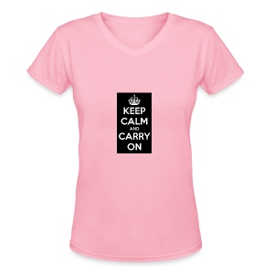KEEP CALM AND SUB TO DIAMOND - Women's V-Neck T-Shirt