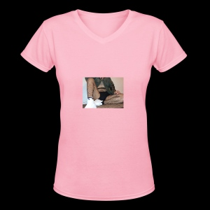 self modeled - Women's V-Neck T-Shirt