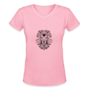 Lion - Women's V-Neck T-Shirt