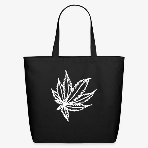 white leaf w/myceliaX.com logo - Eco-Friendly Cotton Tote