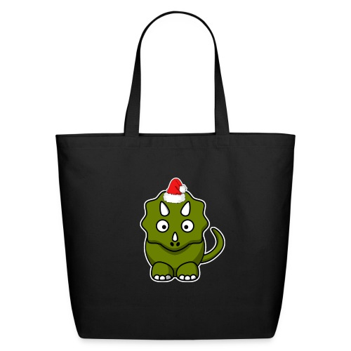 Happy Holidays Triceratops - Eco-Friendly Cotton Tote