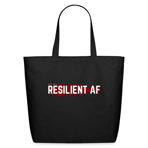 RESILIENT WHITE with red - Eco-Friendly Cotton Tote