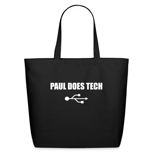 Paul Does Tech White Logo With USB - Eco-Friendly Cotton Tote
