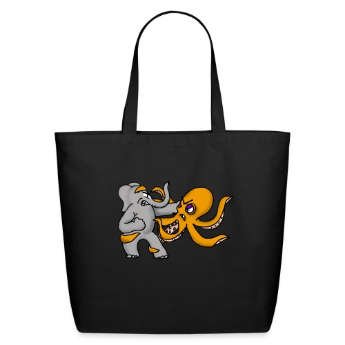 Elephant vs. Octopus Mug - Eco-Friendly Cotton Tote